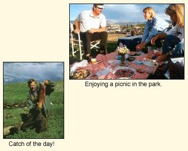 Collage of two pictures - family of three enjoys picnic in park, man holds up fish