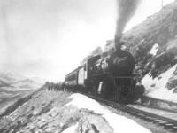 Black and white image of Train stopped on pass in summer