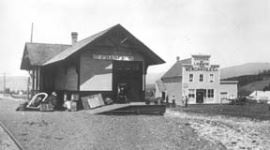 Black and white image of Fraser Depot by tracks