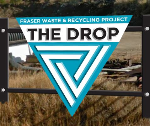 The Drop trash and recycling center entry sign