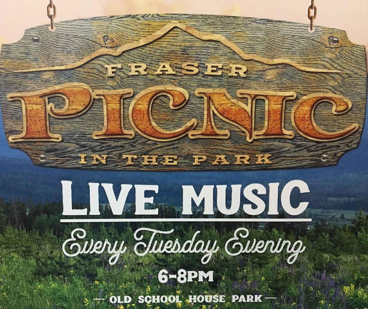 Picnic in the Park poster of wooden sign hanging from chain