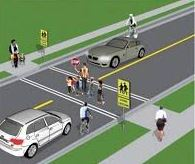 Graphic image of a safe school crossing -