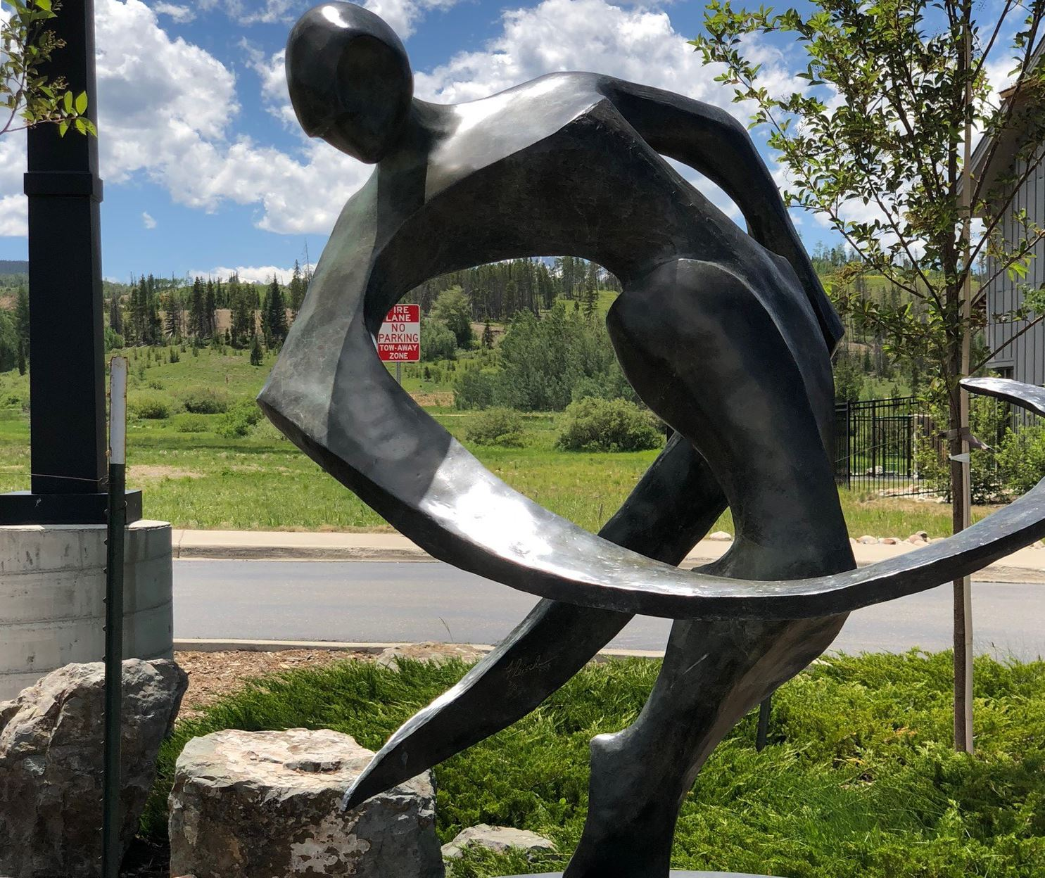 sculpture of a ribbon dancer